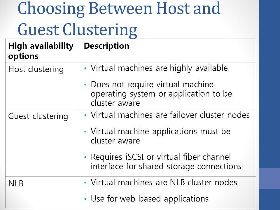 Choosing Between Host and Guest Clustering