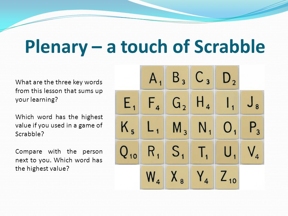 Plenary – a touch of Scrabble