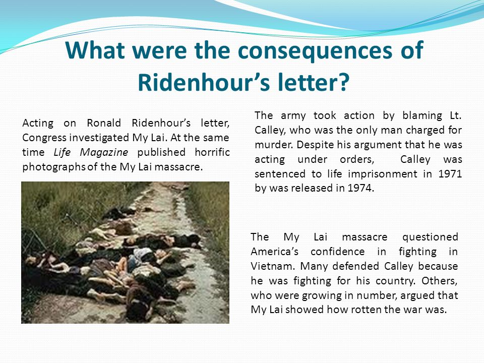 What were the consequences of Ridenhour's letter
