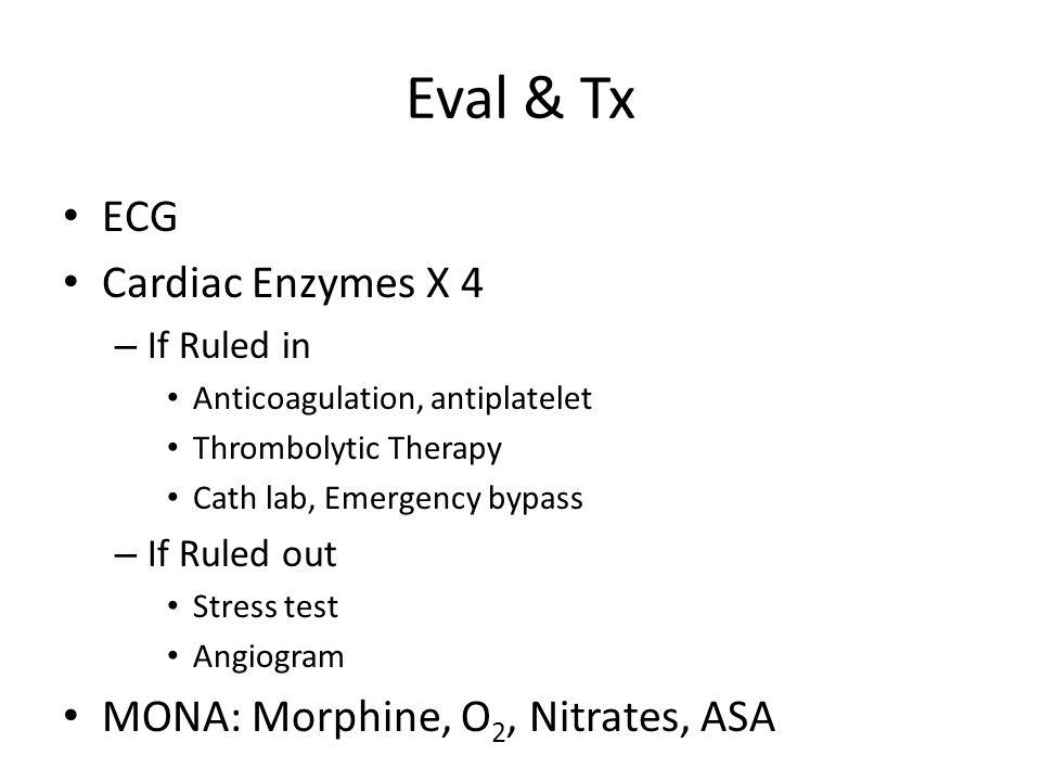 Eval & Tx ECG Cardiac Enzymes X 4 MONA: Morphine, O2, Nitrates, ASA