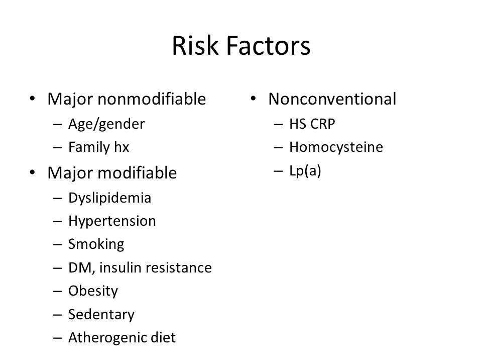 Risk Factors Major nonmodifiable Major modifiable Nonconventional
