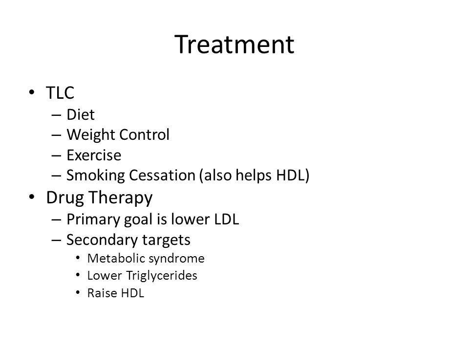 Treatment TLC Drug Therapy Diet Weight Control Exercise