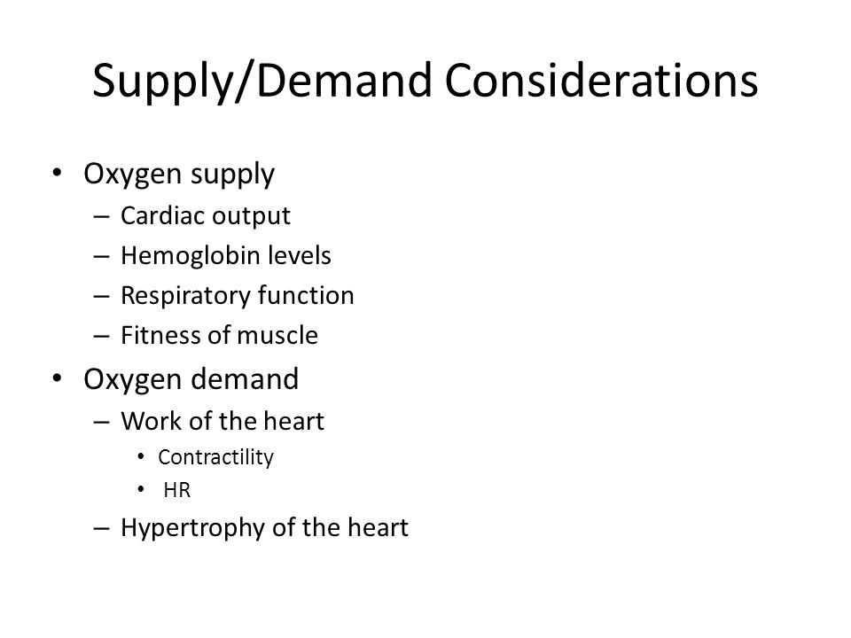 Supply/Demand Considerations