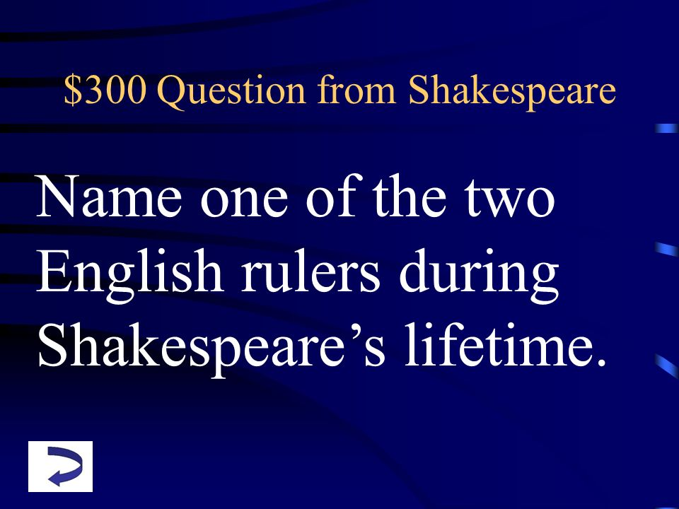 $300 Question from Shakespeare