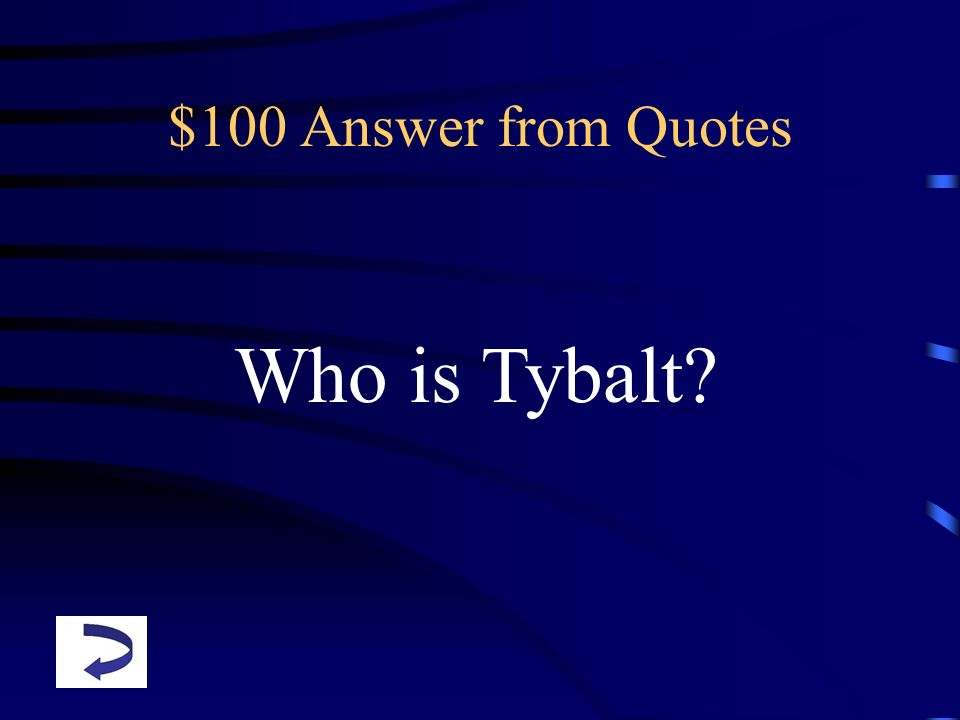 $100 Answer from Quotes Who is Tybalt