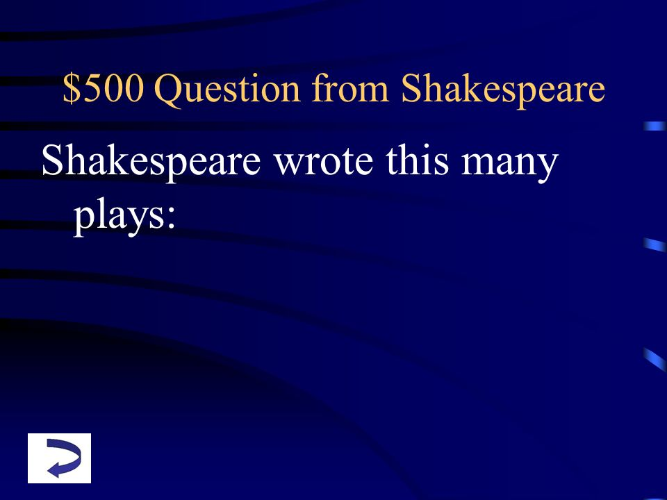 $500 Question from Shakespeare