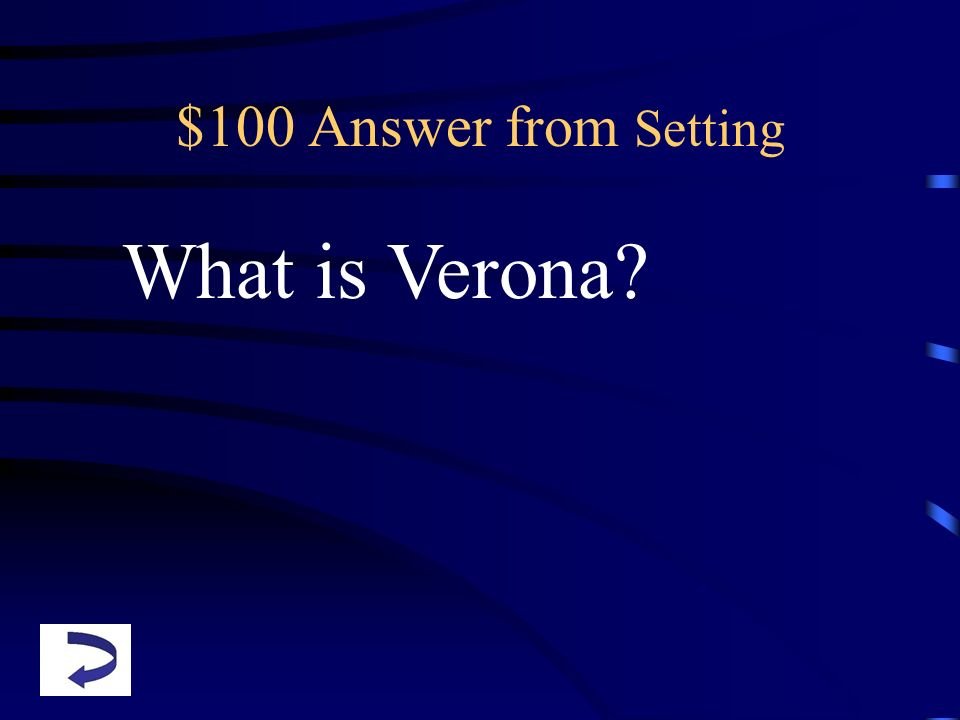 $100 Answer from Setting What is Verona