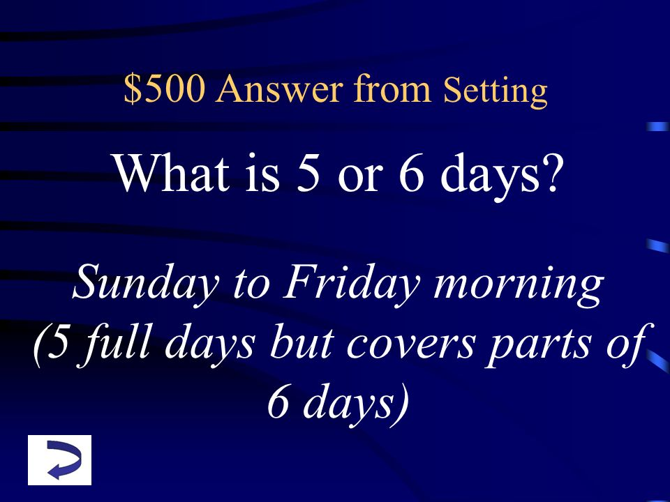 What is 5 or 6 days Sunday to Friday morning