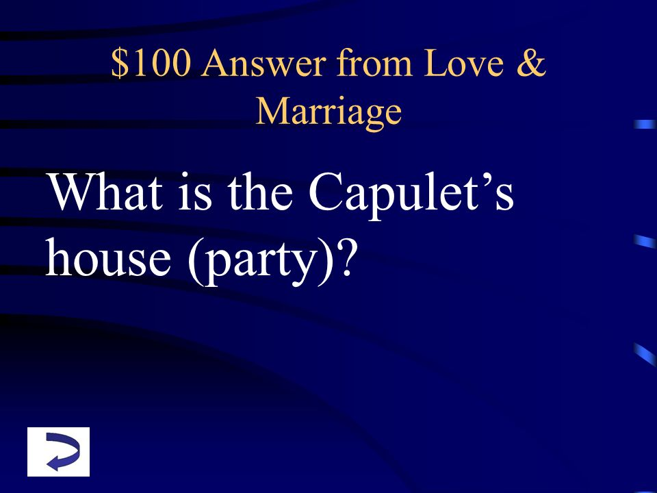 $100 Answer from Love & Marriage