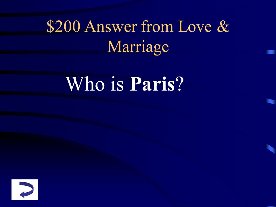 $200 Answer from Love & Marriage