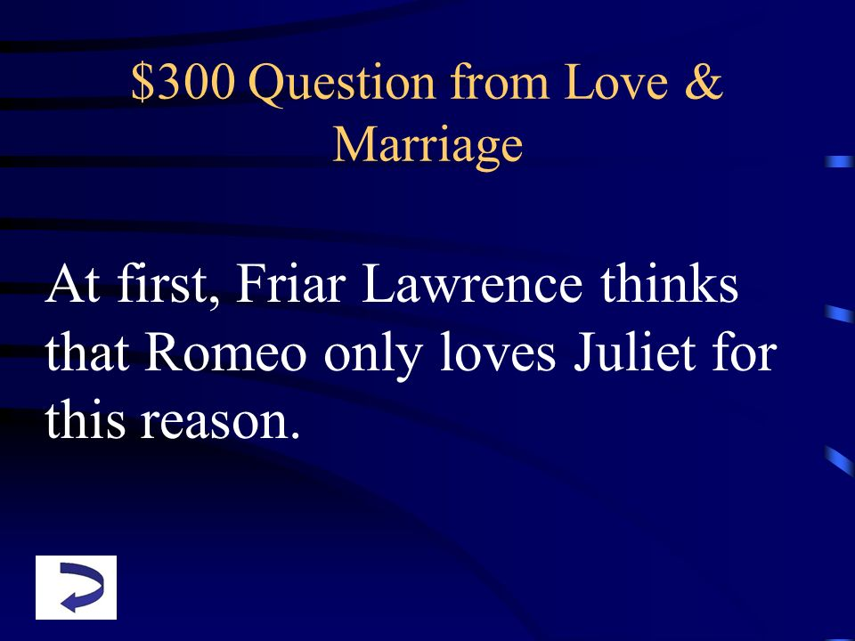 $300 Question from Love & Marriage
