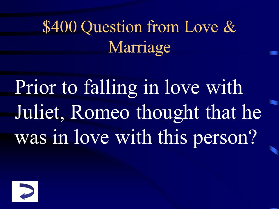 $400 Question from Love & Marriage