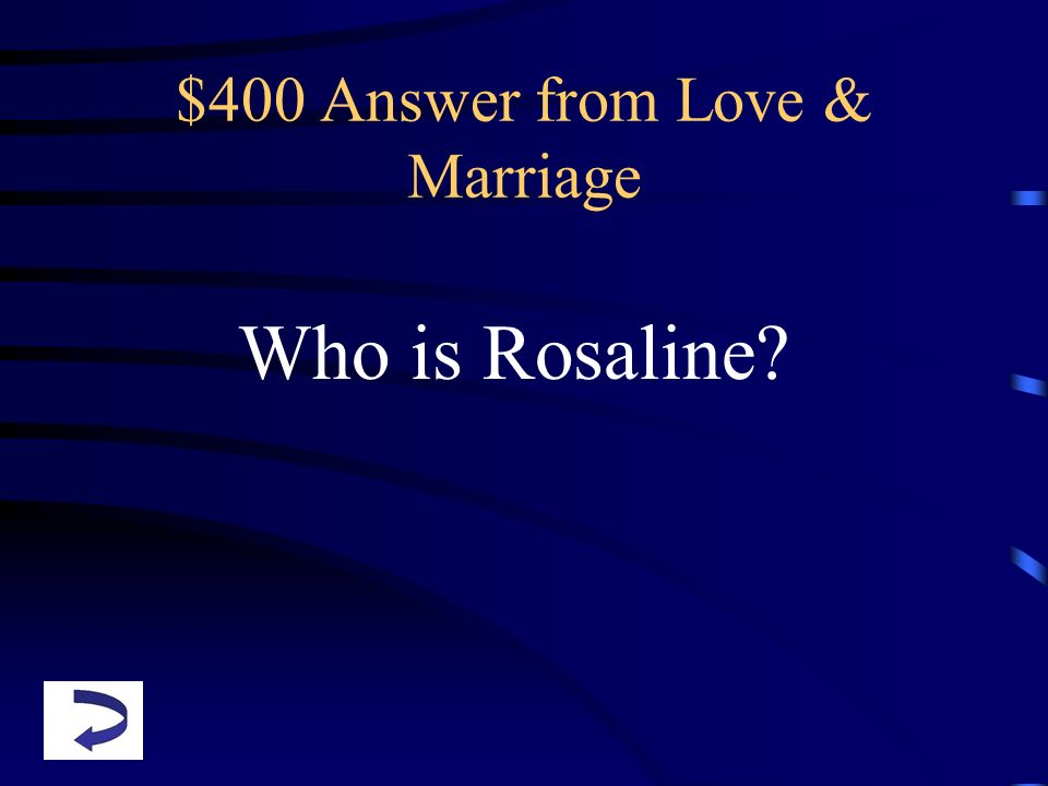 $400 Answer from Love & Marriage