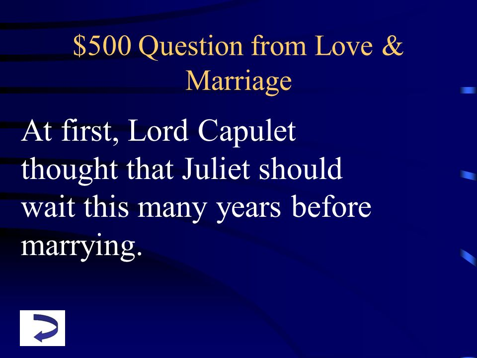 $500 Question from Love & Marriage
