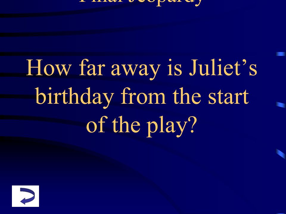 Final Jeopardy How far away is Juliet's birthday from the start of the play
