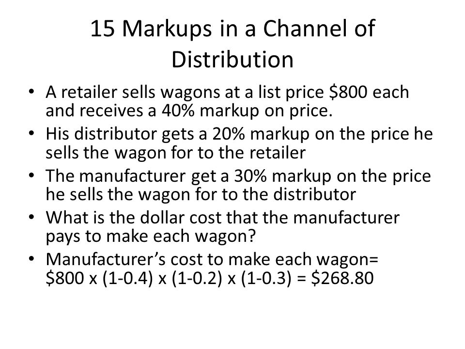 15 Markups in a Channel of Distribution