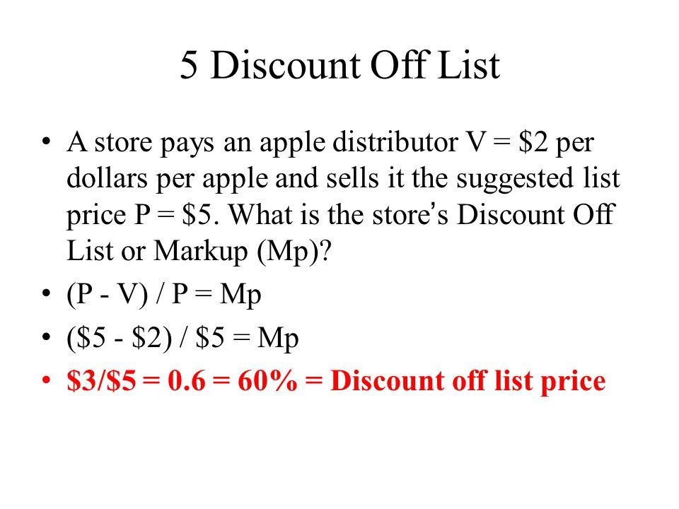 5 Discount Off List