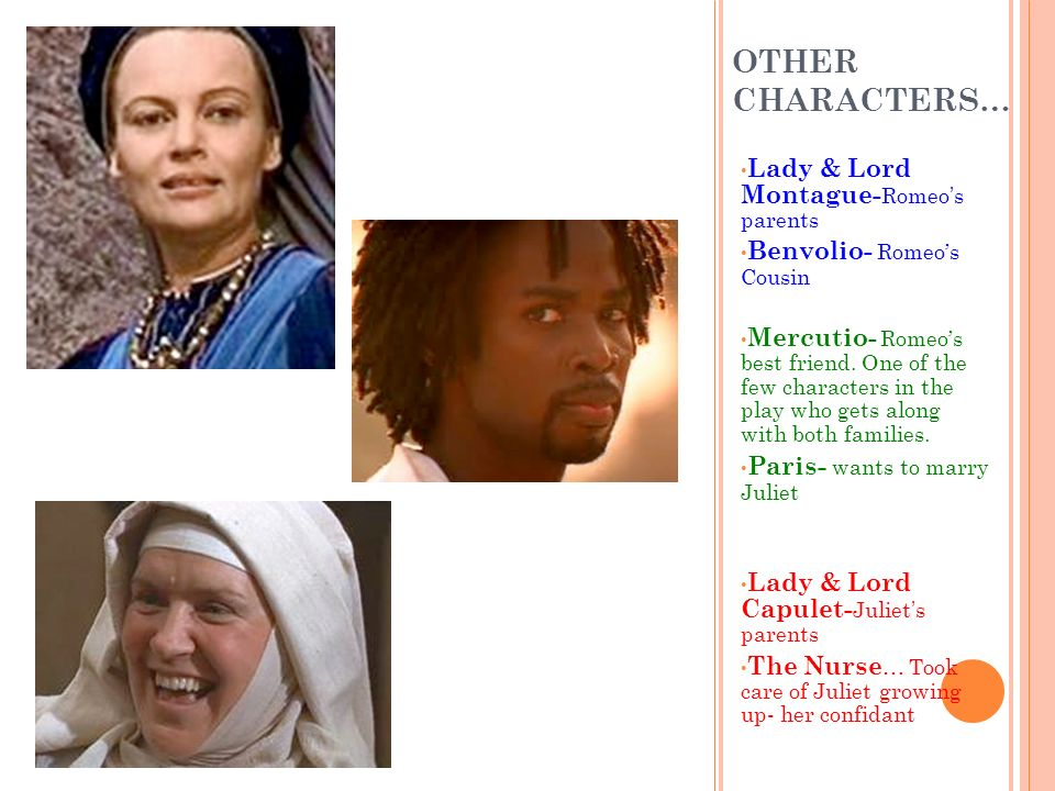 OTHER CHARACTERS… Lady & Lord Montague-Romeo's parents
