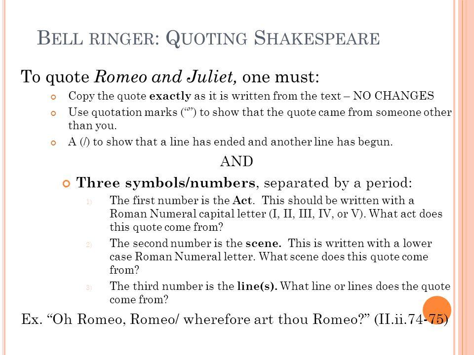 Bell ringer: Quoting Shakespeare