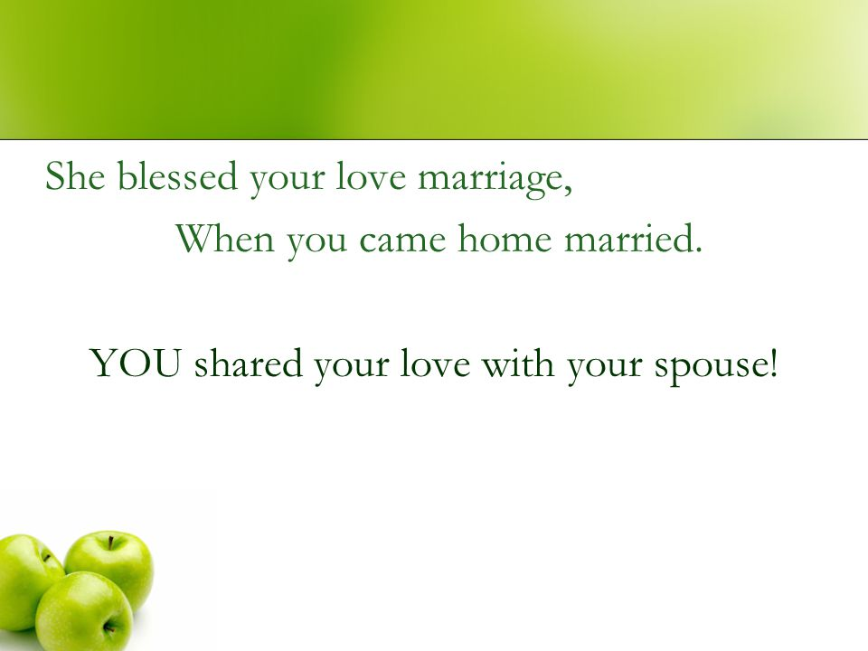 YOU shared your love with your spouse!