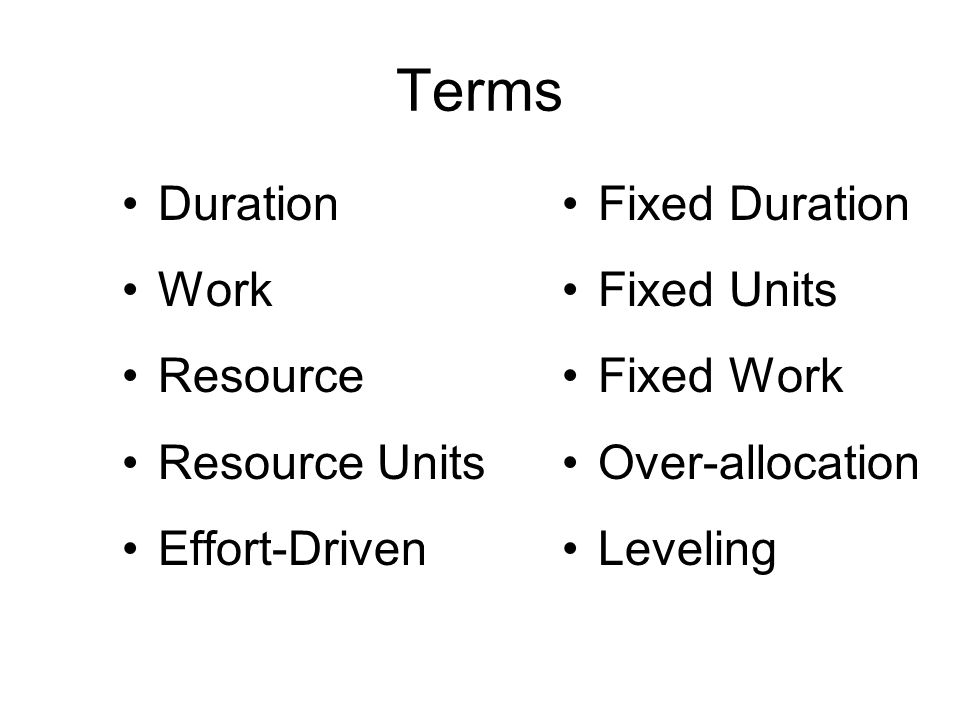 Terms Duration Work Resource Resource Units Effort-Driven