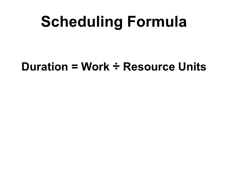 Duration = Work ÷ Resource Units