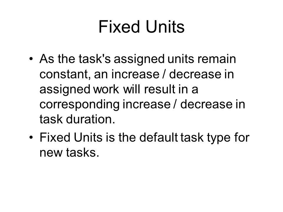 Fixed Units