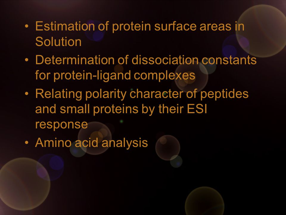 Estimation of protein surface areas in Solution