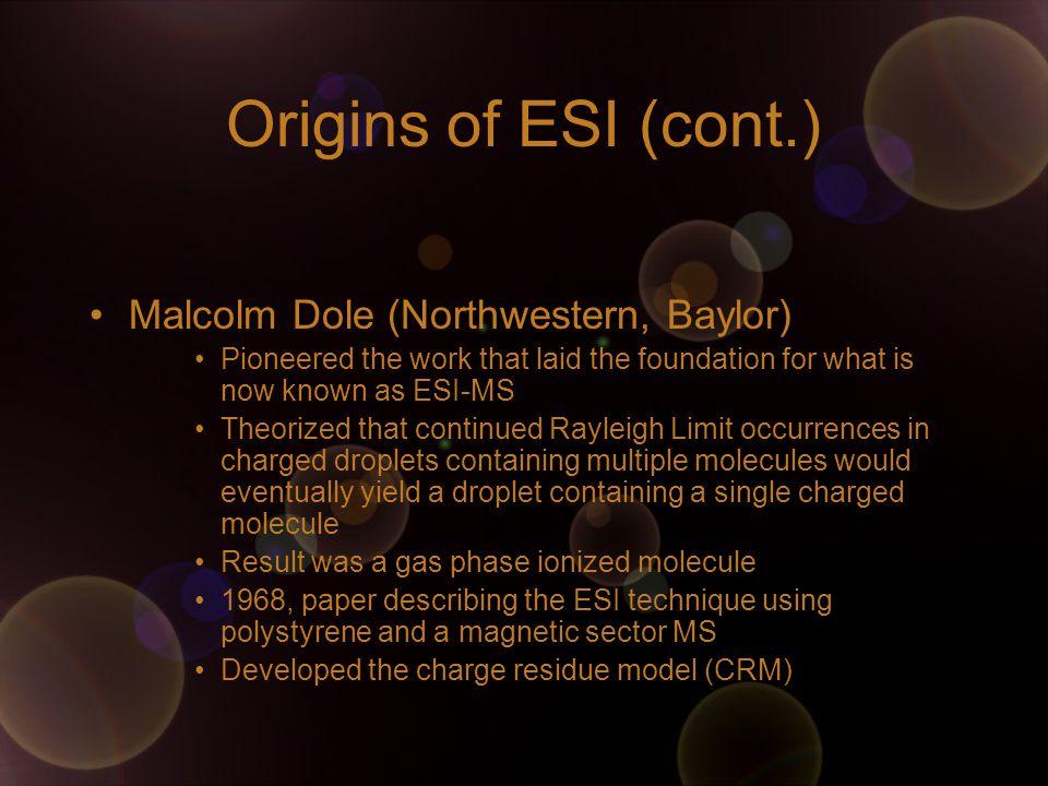 Origins of ESI (cont.) Malcolm Dole (Northwestern, Baylor)