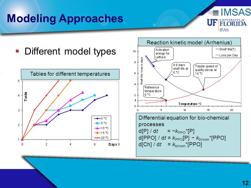 Modeling Approaches Different model types