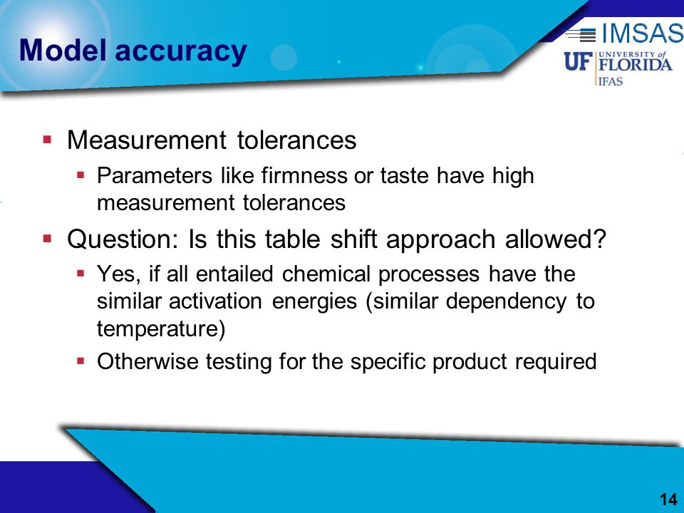 Model accuracy Measurement tolerances