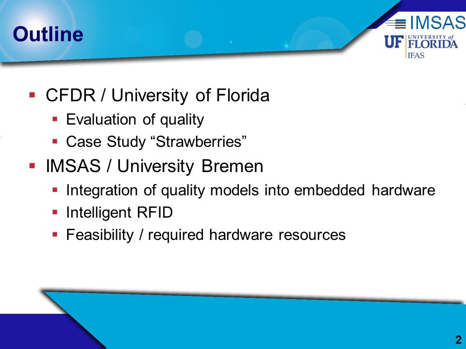 Outline CFDR / University of Florida IMSAS / University Bremen