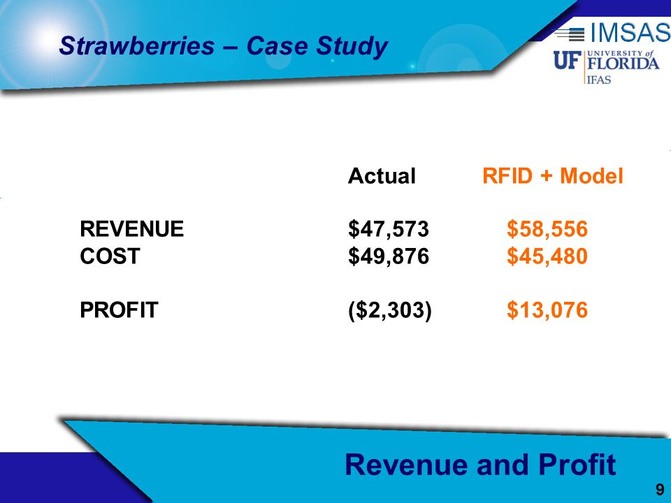 Revenue and Profit Strawberries – Case Study Actual RFID + Model