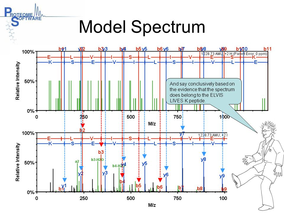 Model Spectrum And say conclusively based on the evidence that the spectrum does belong to the ELVIS LIVES K peptide.