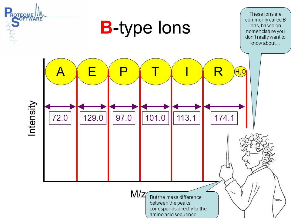 B-type Ions A E P T I R Intensity M/z 72.0 129.0 97.0 101.0 113.1