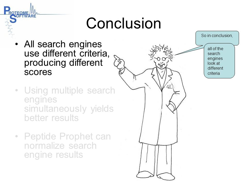 Conclusion So in conclusion, All search engines use different criteria, producing different scores.