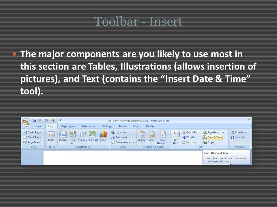 Toolbar - Insert