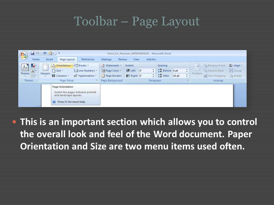 Toolbar – Page Layout