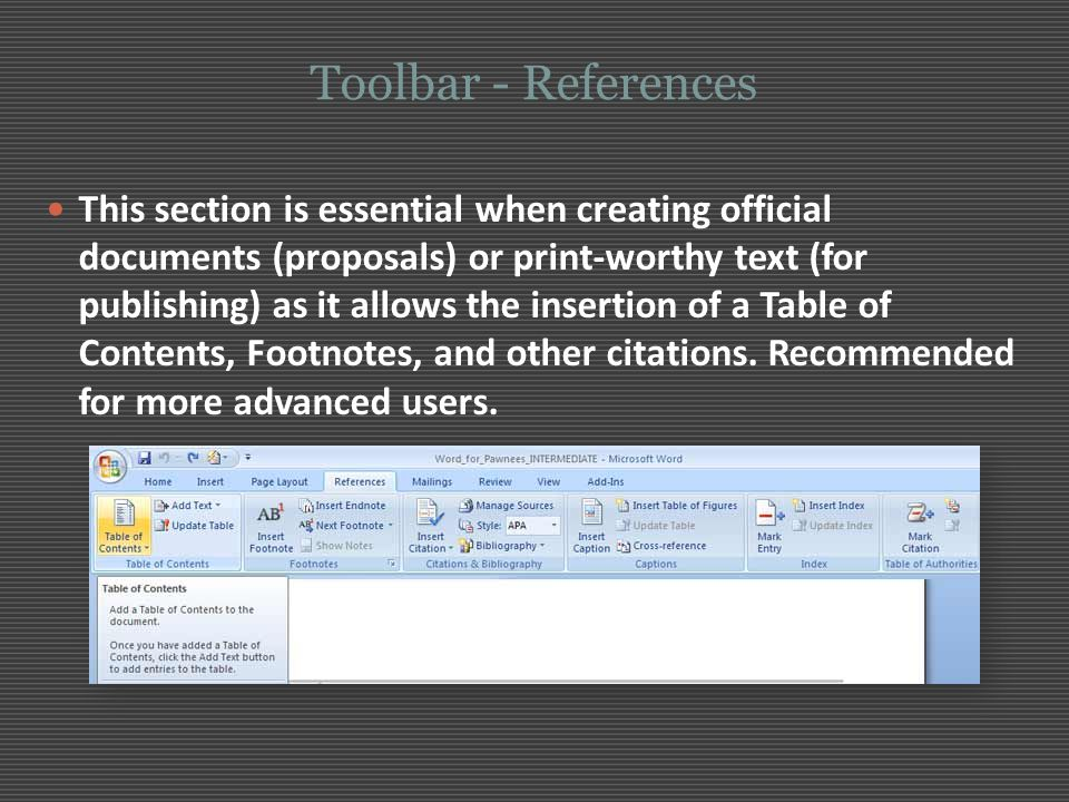 Toolbar - References