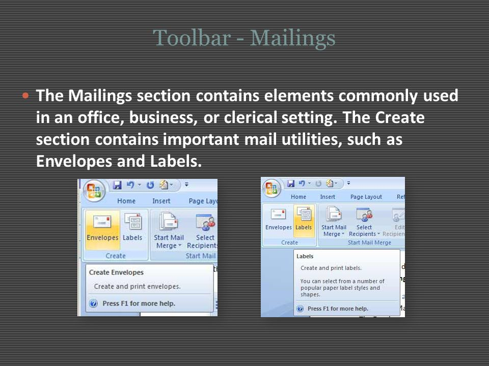 Toolbar - Mailings