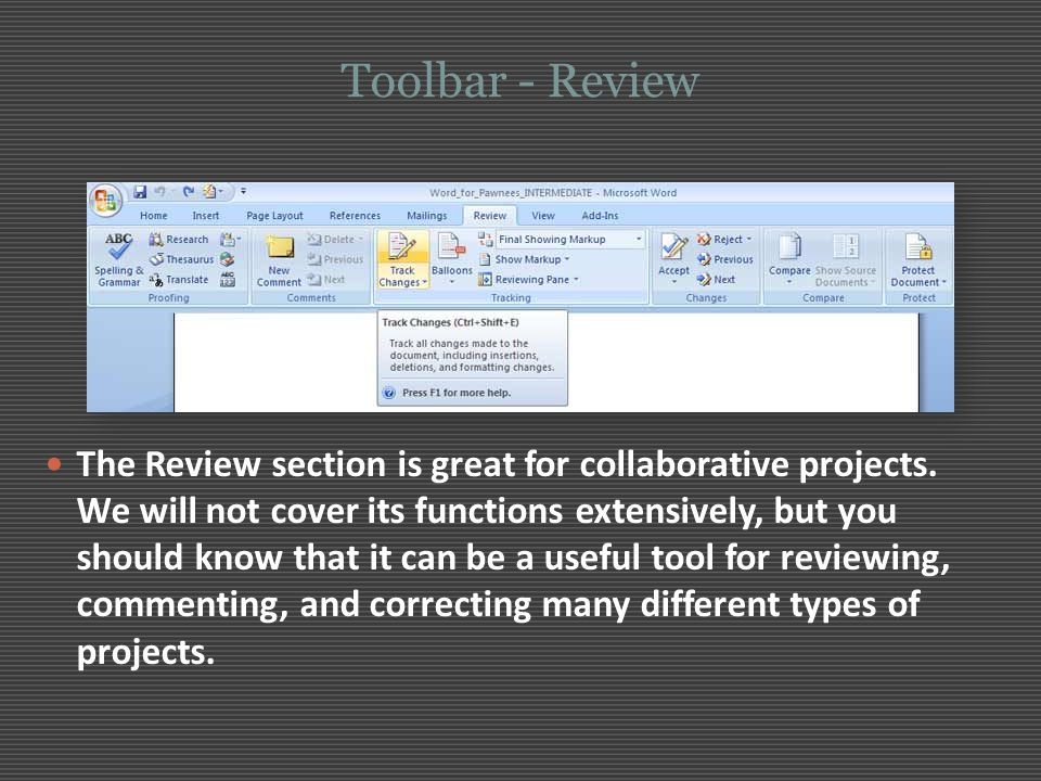 Toolbar - Review