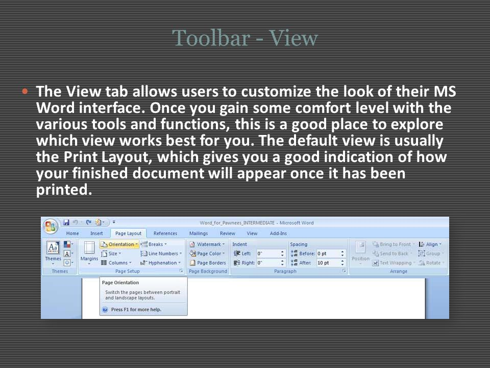 Toolbar - View