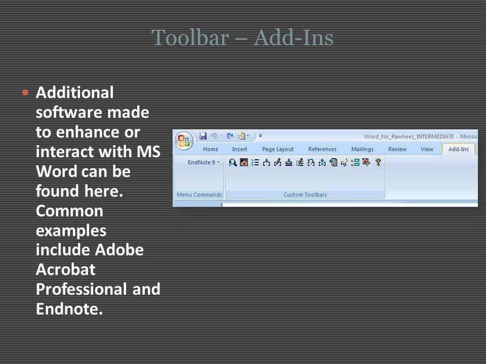 Toolbar – Add-Ins