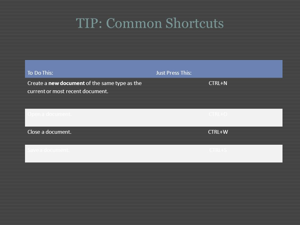 TIP: Common Shortcuts To Do This: Just Press This: