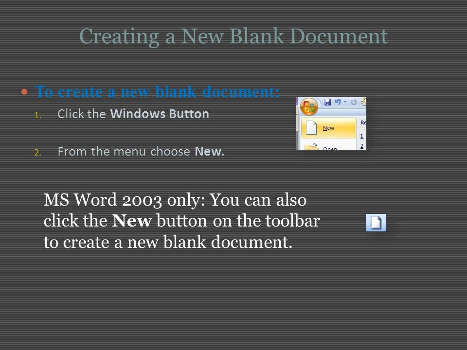 Creating a New Blank Document