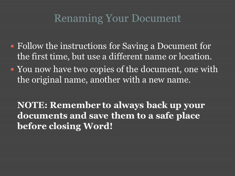Renaming Your Document