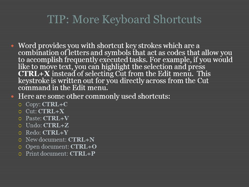 TIP: More Keyboard Shortcuts