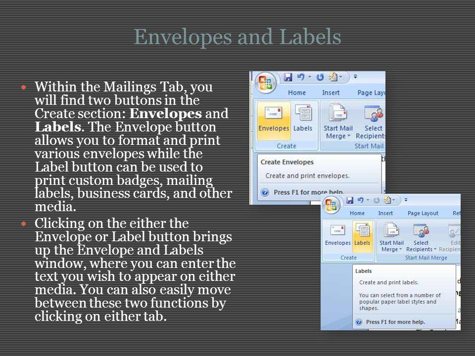 Envelopes and Labels