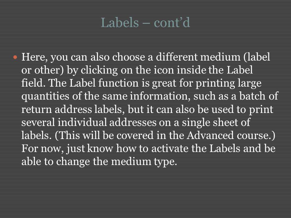 Labels – cont'd