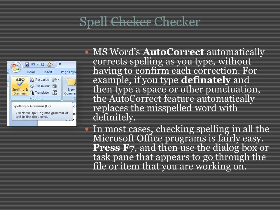 Spell Cheker Checker